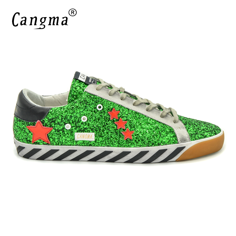 CANGMA Original Italy Deluxe Brand Men Shoes Genuine Leather Sequin Superstar Mens Casual Glitter Green Shoes Scarpa Zapato 2017 cangma original italy deluxe brand men golden shoes women handmade silver genuine leather goose shoes scarpa stella sapato 2017