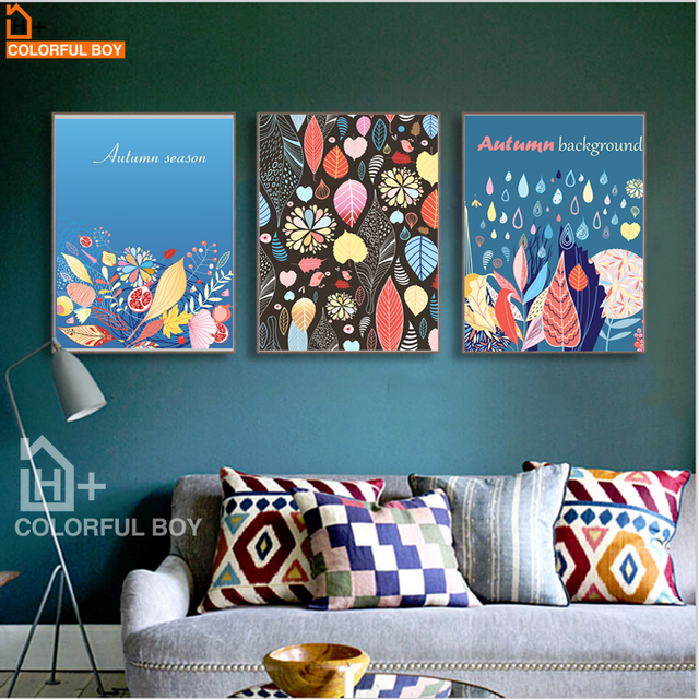 Colorfulboy modern pop art autumn scenery canvas painting colorful picture wall art canvas prints and posters
