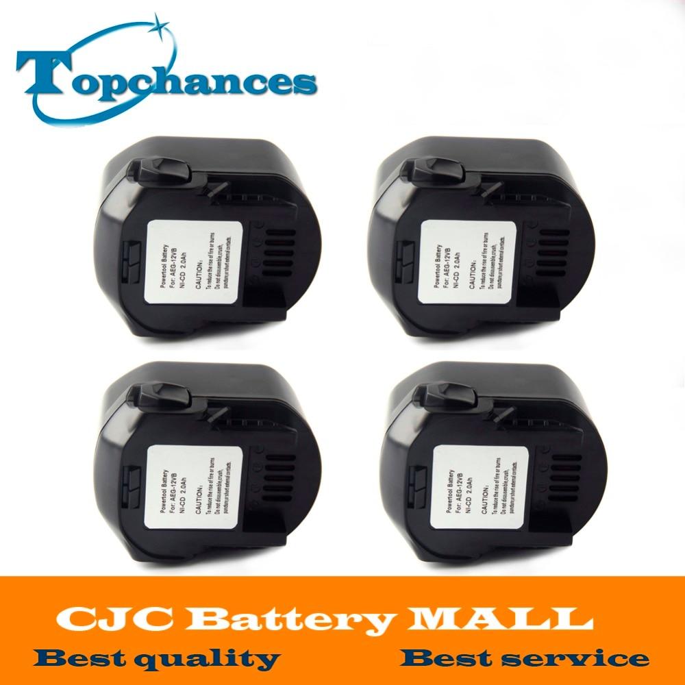 4PCS AEG 12VB font b Power b font font b Tool b font Battery 12V 2000mAh