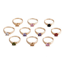 10pcs Fashion Wholesale lots Colorful Rhinestone Luxurious Finger Rings Band for Women Men Jewelry
