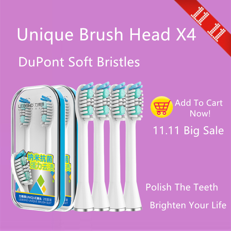 LEBOND Sonic Electric Toothbrush Heads Unique Series 4Pcs  For All LEBOND Adult Toothbrushes 2pcs philips sonicare replacement e series electric toothbrush head with cap