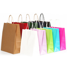 8 color cowhide gift box candy carton 10 pieces / batch large kraft paper bag with handle recyclable fashion clothes