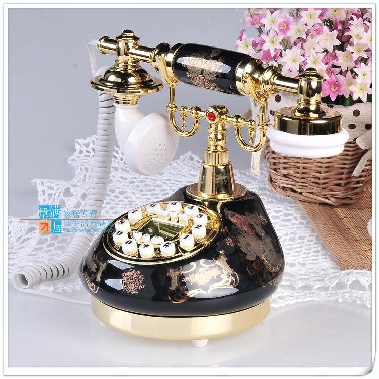 Предложение Натуральная античный Античный Телефон стационарный телефон Hands-Free синий экран с Европейский стиль древнего сад набрать