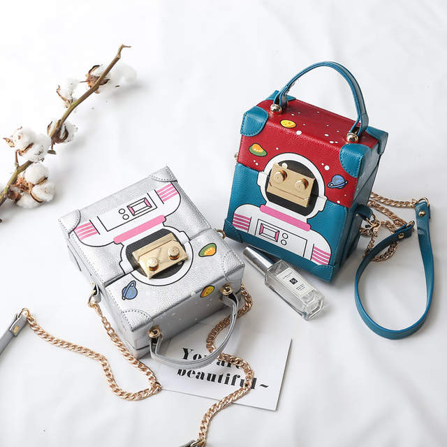 40eaf33f8fed US $37.13 |latest women shoulder bag mini size chain square box shape with  cute robot image small fashion bag for girls-in Shoulder Bags from Luggage  ...