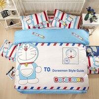 Historieta de la manera Hola Del Gatito Doraemon Minions niños Juegos de Cama 3-4 unids juego de Cama Funda Nórdica sábana Funda de Almohada Twin Queen