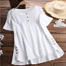 Summer Women Short Sleeve Blouse Casual Loose Tops Womens Plus Size Shirts Solid Color Long Blusas