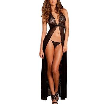 Hot Women Sexy Long Nightgown Sleepwear Lingerie With G-string New Women Nightdress Women's Sexy Lingerie Lace V-Neck Dress