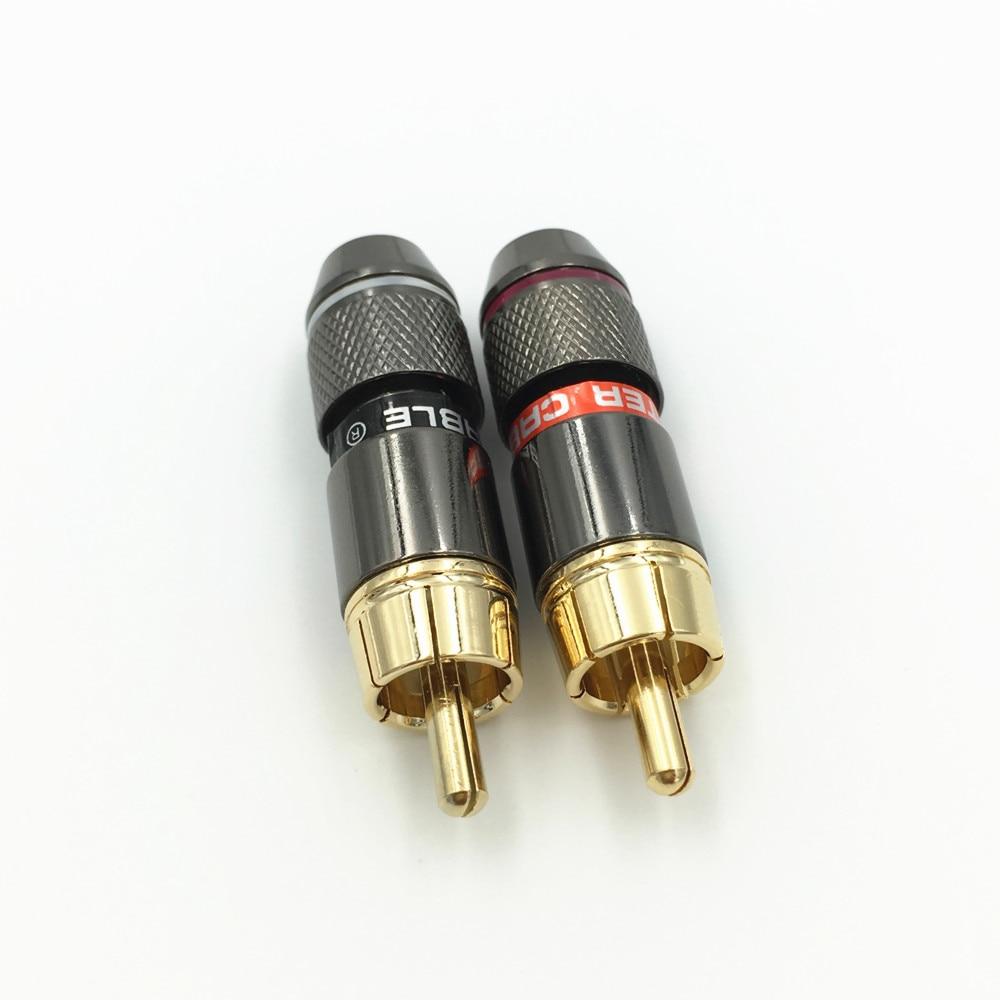 10Pcs High Quality Copper RCA Male Plug Adapter Audio Phono Solder ...