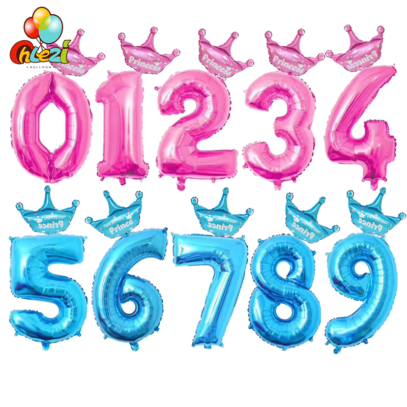 2pcs 32 Inch Pink Blue Number Digit Foil Balloons 1 2 3 4