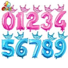 Ballons à chiffres en aluminium rose et bleu, 2 pièces, 32 pouces, 1 2 3 4 5 6 7 8 9 ans, couronne décorative d'anniversaire pour enfants garçons et filles