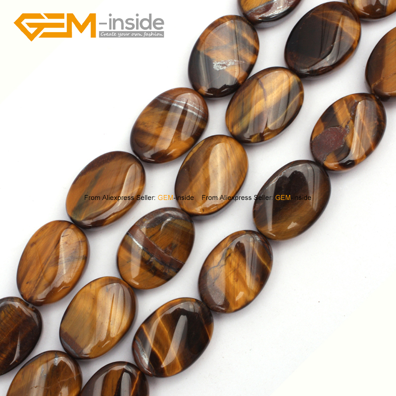Gem-inside 13X18mm 15inch Natural Flat Oval Twist Loose Stone Beads For Jewelry Making Necklace Bracelet DIY Beads Jewellery
