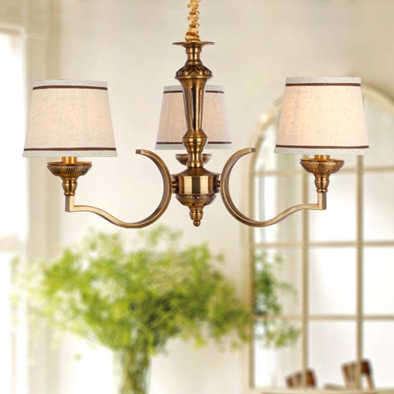 Vintage Lampe Antike Messing Amerikanischer Kronleuchter Treppe Wohnzimmer Leuchte Eisen Weiss Stoff Lampenschirm E14 110