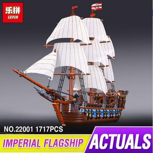 NEW LEPIN 22001 Pirate Ship Imperial warships Model Building Kits Block Briks Toys Gift 1717pcs Compatible 10210 for children lepin 22001 pirates series the imperial war ship model building kits blocks bricks toys gifts for kids 1717pcs compatible 10210
