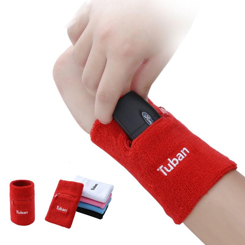 Tennis Sport Baumwolle Zipper Armband Armband Handgelenkstütze Schweißband