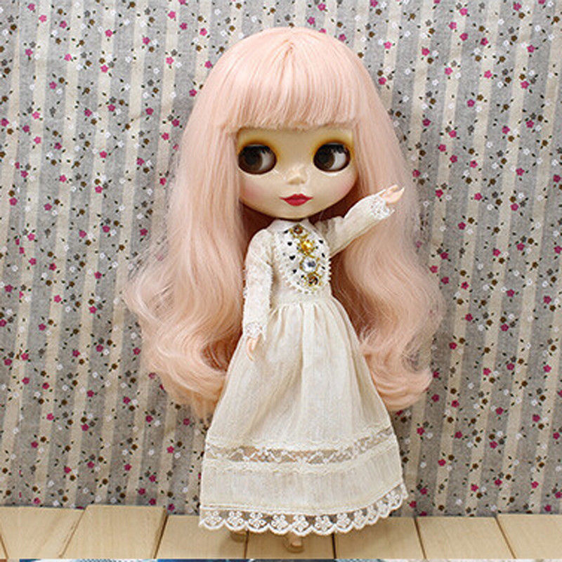 New For 12 Blyth Nude Doll 7 Joints Pink Long Wavy Hair~From Factory Doll 2lolita long wavy blend brown