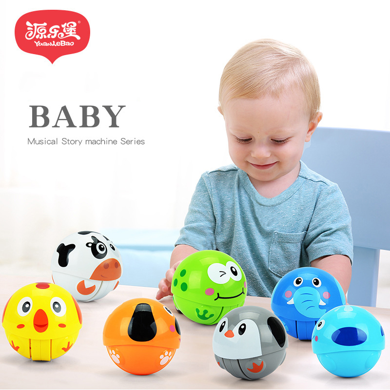 Rattle Pacify Kids Early Educational Gift Hand Bells Cartoon Tumbler Infant Toys For Baby Rolling Ball Children Puzzle Toys ...