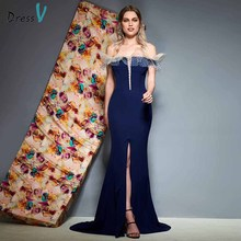 Dressv dark navy evening dress off the shoulder floor length split front mermaid wedding party formal dresses