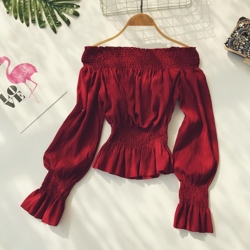 2019 spring new women pure color slash neck elasticity waist lantern sleeve blouses shirt female elegant sweet slim shirts tops 7