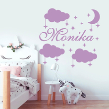 Cloud Stars Cartoon Art Wall Sticker For Kids Room Decoration Personalized Baby Name Decal Vinyl Bedroom Decor Mural Poster J101