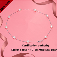 2017 Fashion Pearl Necklace 925 Sterling Silver Jewelry Pearl Jewelry 7 8mm Natural Freshwater Pearl Choker