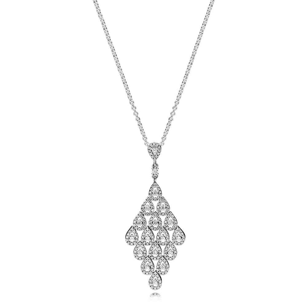 NEW Cascading Glamour Necklace Has Logo 100% 925 Sterling Silver Pendant Chain Foundation Manufacturer Wholesale Free MailNEW Cascading Glamour Necklace Has Logo 100% 925 Sterling Silver Pendant Chain Foundation Manufacturer Wholesale Free Mail
