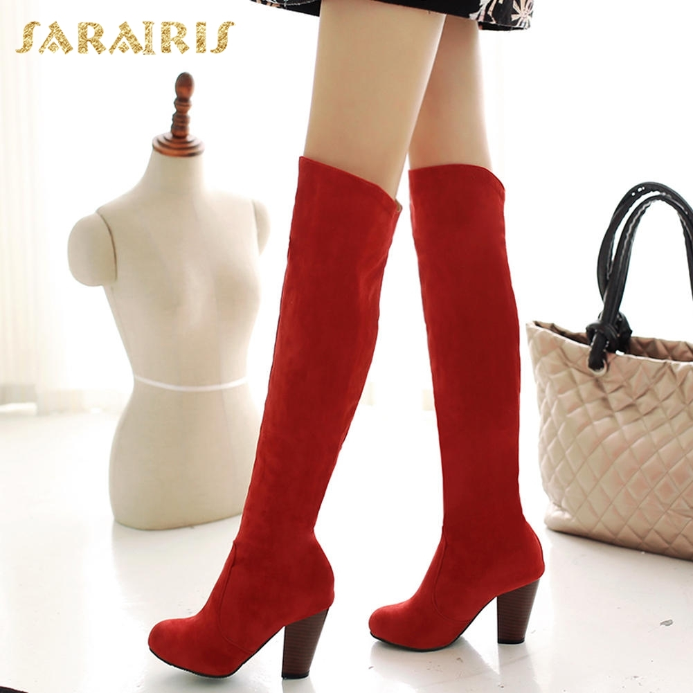SARAIRIS 2018 Wholesale High Heels party Women Shoes Add Fur Winter Boots Female Knee-High Boots Woman Shoes Large Size 32-43 karinluna large size 33 45 hot sale add fur winter boots woman shoes wholesale ankle boots thin high heels party shoes woman