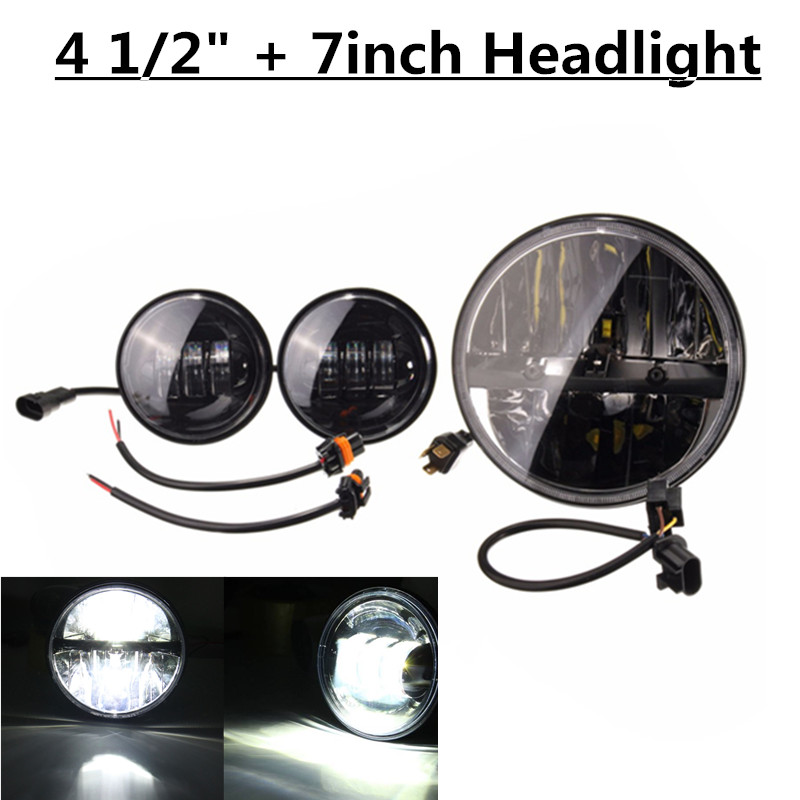 1PCS 7inch LED Projector Daymaker Headlight with 2pcs 4.5inch Auxiliary Passing Lights for Harley 7inch motorcycle daymaker replacement led headlight