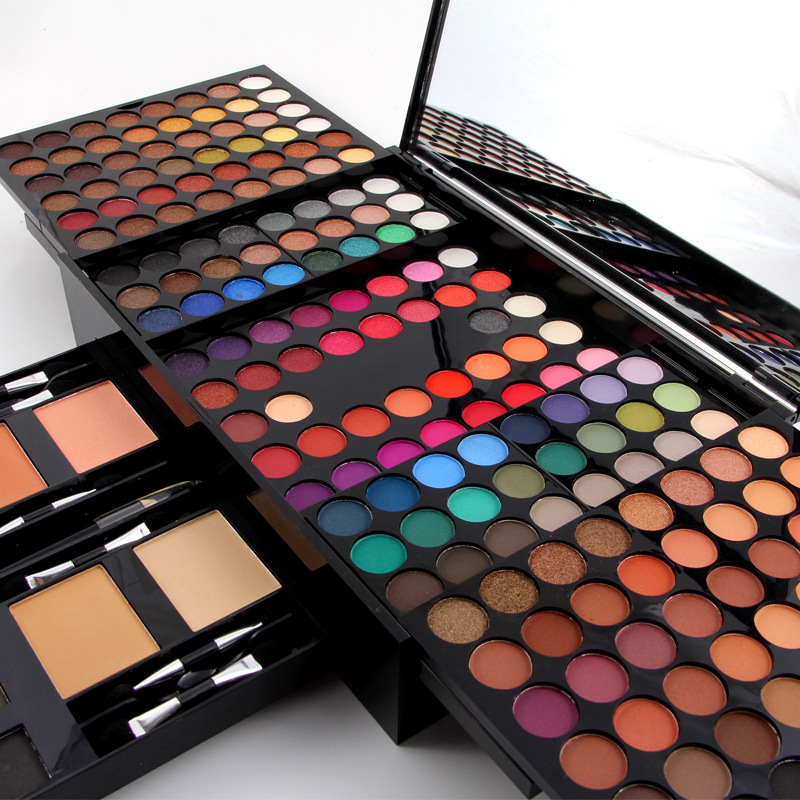 Miss rosa maquiagem profissional 180 cores matte shimmer paleta em pó blush sobrancelha contorno beleza kit caixa mh88