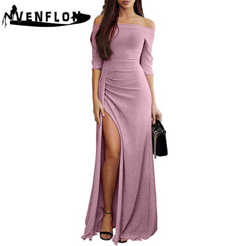 6487e34c2 Catéter VENFLON las mujeres vestido de verano Casual 2019 Plus tamaño  brillante vestido Bodycon Maxi mujer