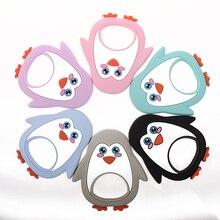Gros Silicone pingouin bébé dentition hérisson 10 pièces sans Bpa infantile mâcher dentition collier pendentif accessoires infirmières cadeaux