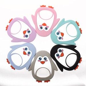 Image 1 - Whosale סיליקון פינגווין תינוק נשכן קיפוד 10pcs Bpa משלוח תינוק לעיסה בקיעת שיניים שרשרת תליון אביזרי אחיות מתנות