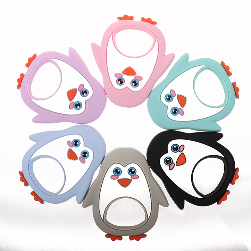 Whosale Silicone Penguin Baby Teethers Hedgehog 10pcs Bpa Free Infant Chewing Teething Necklace Pendant Accessories Nurses Gifts