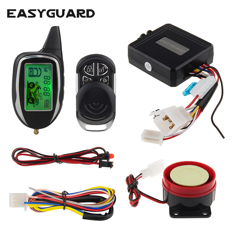 Quality easyguard 2 way motorcycle alarm system with remote engine start starter motion sensor colorful LCD display shock alarm все цены
