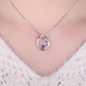 Image 4 - Heart Created Pink Blue Sapphire Pendant Necklace 925 Sterling Silver Gemstones Choker Statement Necklace Women Without Chain