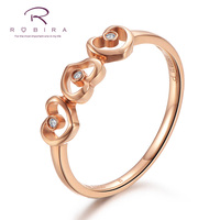 Robira Hot Jewelry Wedding Rings Heart By Heart Love Diamonds Fashion Accessories Jewelry 18K Rose Gold Color Engagement Ring