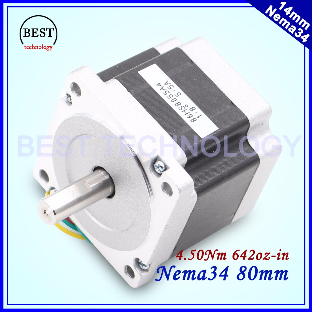 цена на NEMA 34 CNC stepper motor 4.5N.m 5.5A D=14mm Nema34 stepping motor L80mm 640Oz-in for CNC engraving machine and 3D printer!