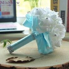 Cheap 2018 ramos de novia Rose Bridesmaid Wedding Foam flowers Rose Bridal bouquet Ribbon Fake Purple Wedding bouquet de noiva