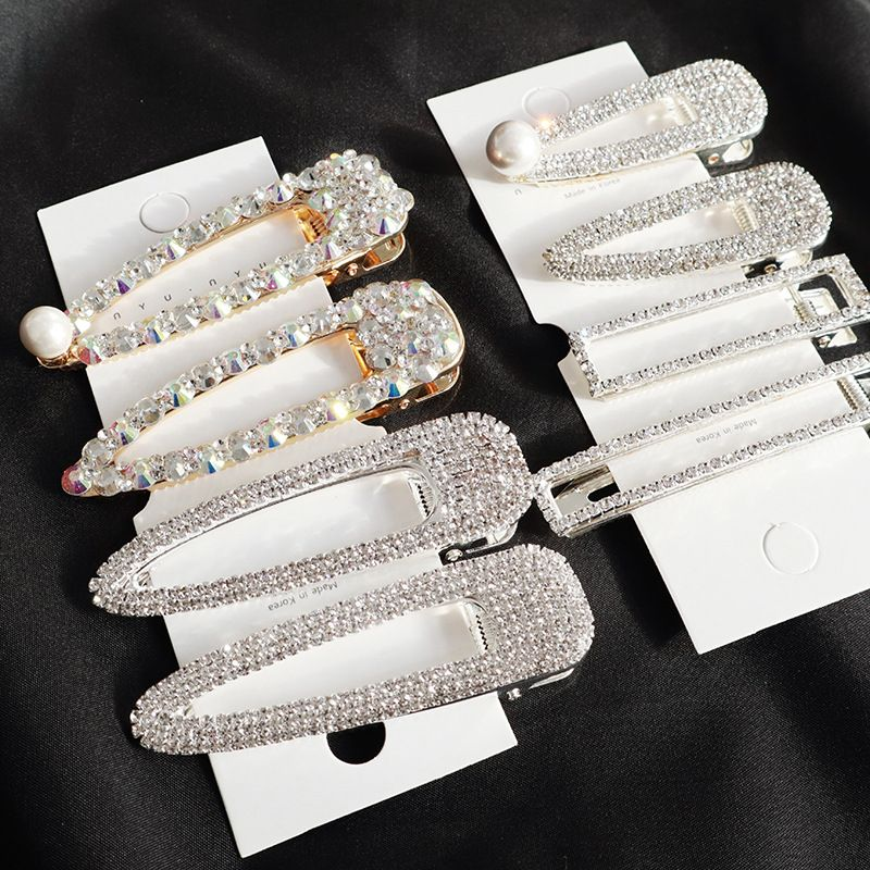 Korea Shiny Crystal Rhinestones Hairpins Geometric Rectangle Waterdrop Imitiation Pearl Hair Clips Hair Accessories 2019 NEW(China)