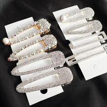Korea Shiny Crystal Rhinestones Hairpins Geometric Rectangle