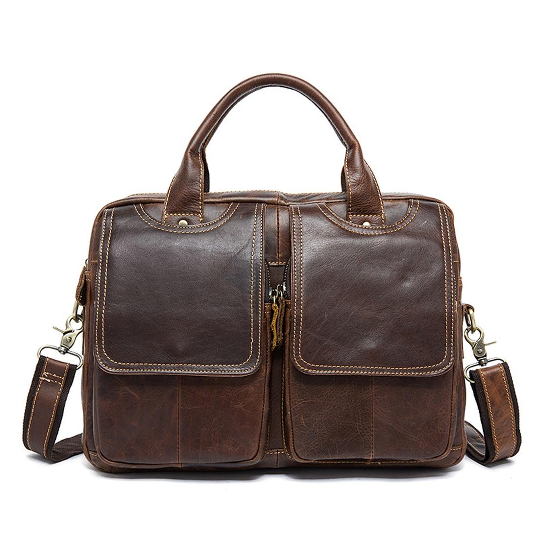 Vintage Solid Men Business Large Bag Man Genuine Cow Leather Work Shoulder Messenger Bag Laptop Square Bag Briefcase Handbag