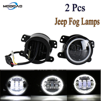 Pack of 2 LED Vehicle Fog Lamps 30W 4 inch SUV Fog Lights Angel Eyes LED Truck Fog Lights 6000K Waterproof Lights