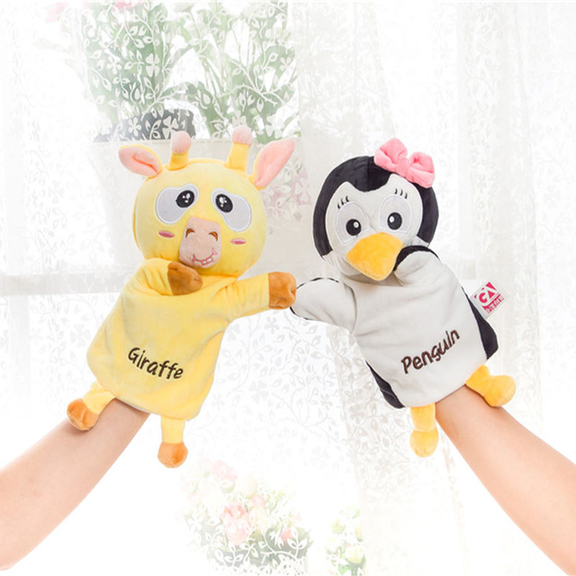 bebecocoon Child Kids Cute Plush Velour Lovely Penguin Animals Hand Puppets Chic Designs Learning Aid Toys Dolls