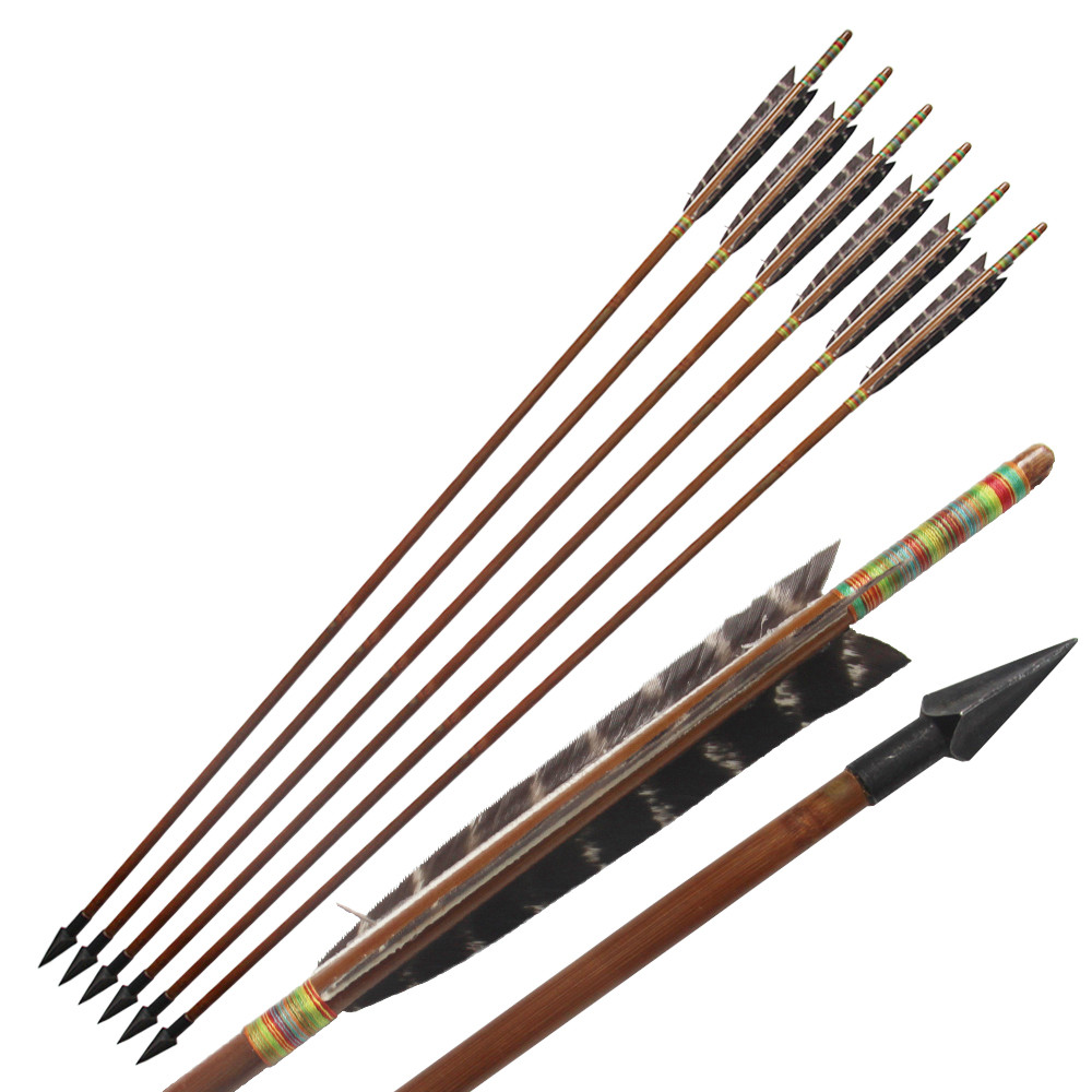 6Pcs / Lot Arrow Buluh HandmadeEagle Feather untuk 20-70Lbs Long Bow - Memburu