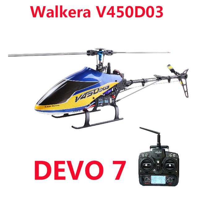 Original Walkera V450D03 com Devo 7 transmissor 6CH 3D Flybarless 6-axis-Gyro RC helicóptero com bateria e carregador RTF
