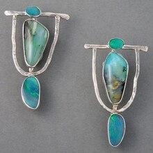 Indian Tribal Personality Natural Dangle Drop Earrings Resin Stone Boho Ethnic V
