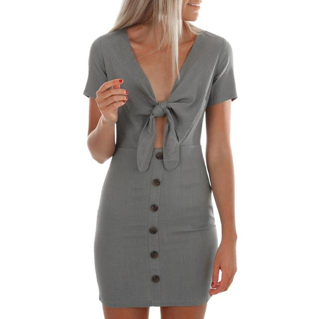 6ee43d7b6ff2d KANCOOLD dress new high quality Summer Short Sleeve V Neck Button Bandage  Dress Casual Beach Party dress women AP25 -in Dresses from Women's Clothing  ...