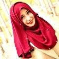 Invierno gruesa bufanda burbuja gasa perlas/crystal mantón Musulmán del hijab del abrigo de los mantones de seda liso cq982 abaya tapas pañuelo bandana