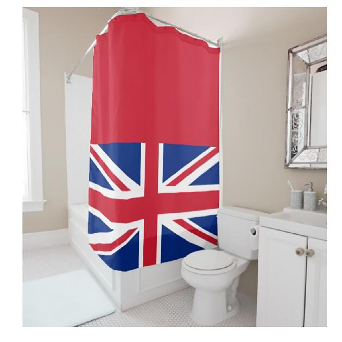 Red shower curtain - Creative Personalized Britain National Flag Digital Printing Red Shower Curtain Polyester Waterproof Bathroom Shower Curtain