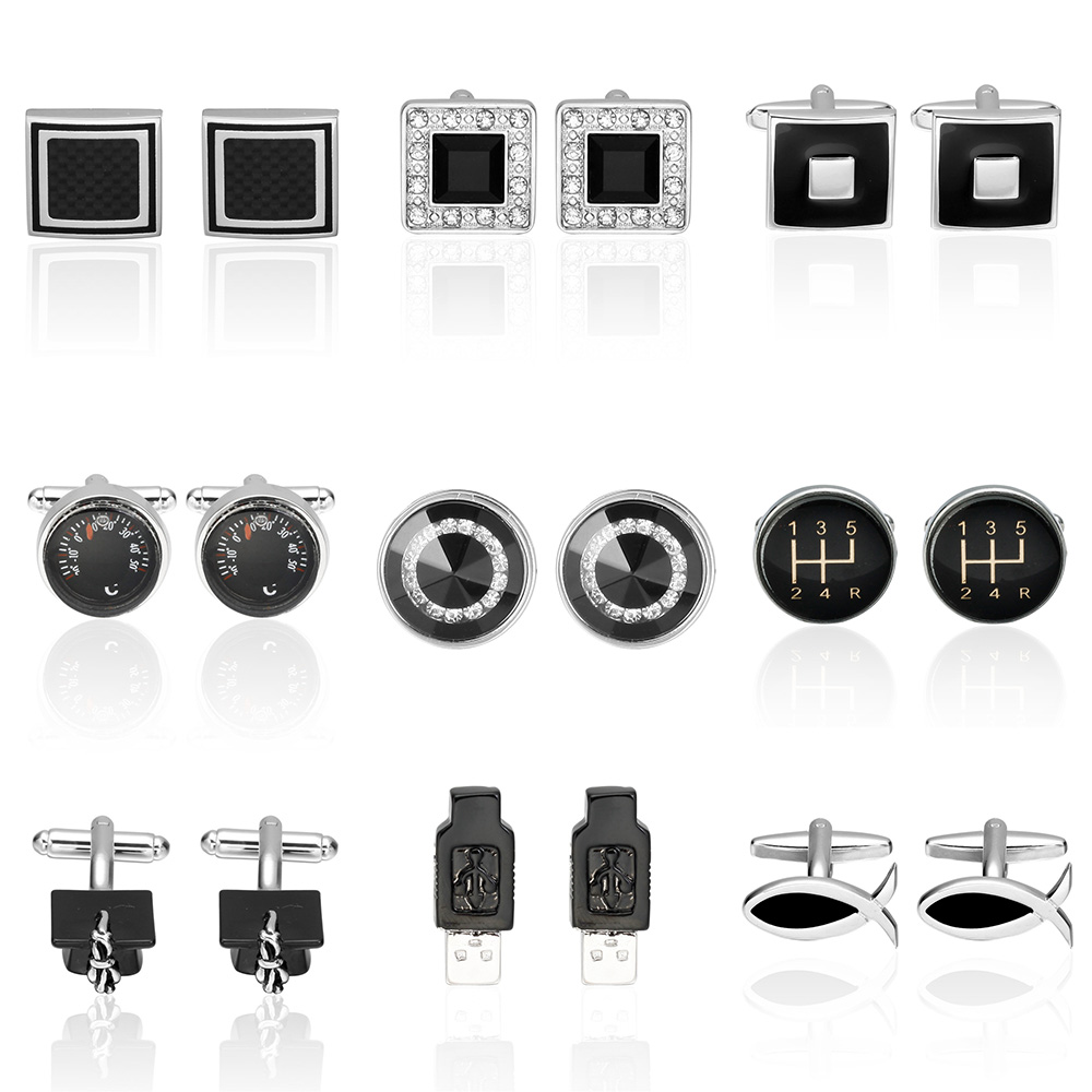 Memolissa Classic Square Round Cufflinks Mature Man Black Cufflinks Luxury High-grade Shirt Cuff Button Gemelos Para Camisas