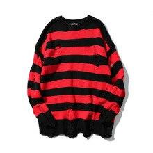 5204 осенний Черный Красный Полосатый дырки вязаный уличный негабаритный Мужской пуловер хип-хоп свитера Свободный уличная волна